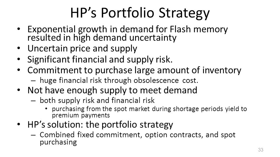 HPs Portfolio Strategy Exponential growth in demand for Flash memory resulted in high demand uncertainty Uncertain price and supply Significant financial and supply risk.