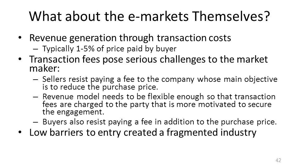 What about the e-markets Themselves.