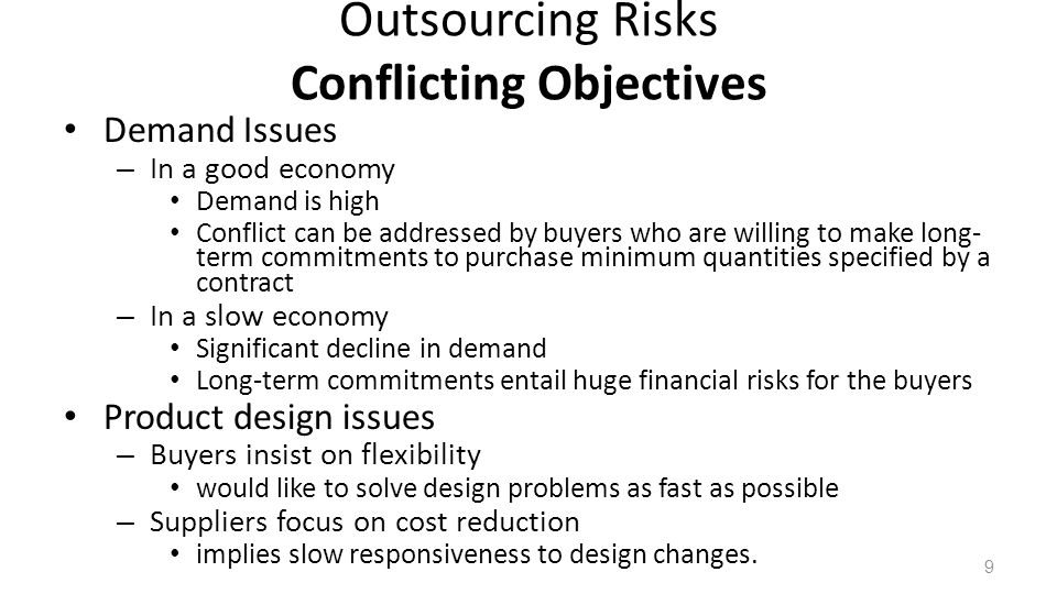 Outsourcing Risks Conflicting Objectives Demand Issues – In a good economy Demand is high Conflict can be addressed by buyers who are willing to make long- term commitments to purchase minimum quantities specified by a contract – In a slow economy Significant decline in demand Long-term commitments entail huge financial risks for the buyers Product design issues – Buyers insist on flexibility would like to solve design problems as fast as possible – Suppliers focus on cost reduction implies slow responsiveness to design changes.