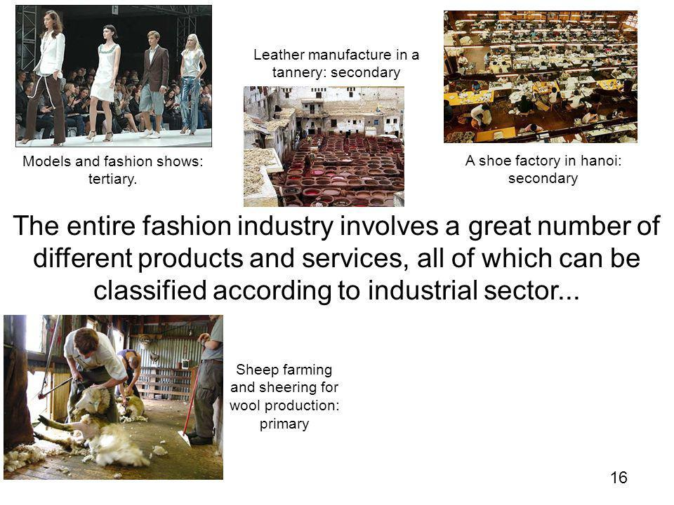 16 The entire fashion industry involves a great number of different products and services, all of which can be classified according to industrial sector...
