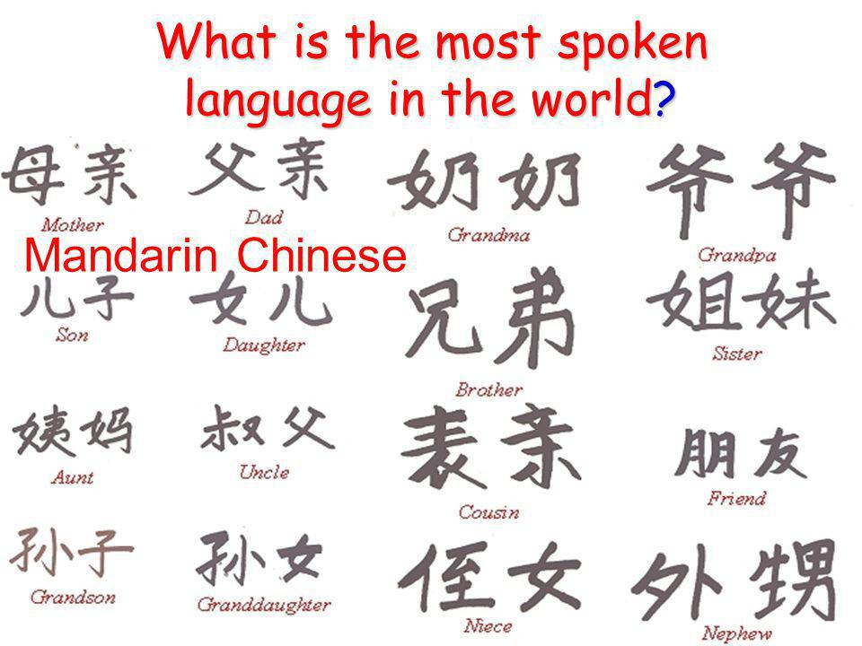 What is the most spoken language in the world Mandarin Chinese