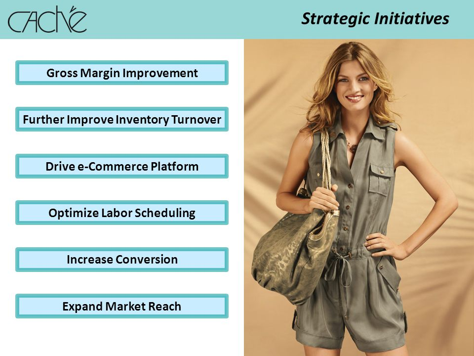 12 Strategic Initiatives Gross Margin Improvement Drive e-Commerce Platform Optimize Labor Scheduling Increase Conversion Expand Market Reach Further Improve Inventory Turnover