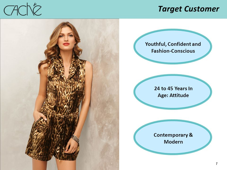 7 Contemporary & Modern 24 to 45 Years In Age: Attitude Youthful, Confident and Fashion-Conscious Target Customer