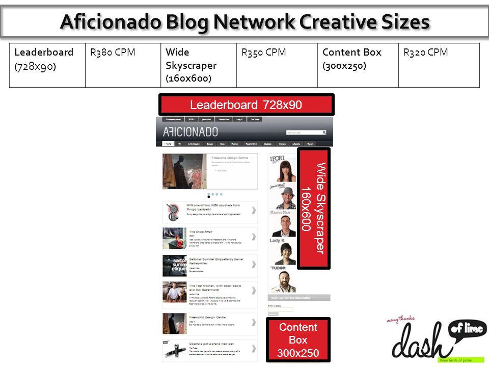 Leaderboard ( 728x90 ) R380 CPMWide Skyscraper (160x600) R350 CPMContent Box (300x250) R320 CPM Aficionado Blog Network Creative Sizes Leaderboard 728x90 Content Box 300x250 Wide Skyscraper 160x600