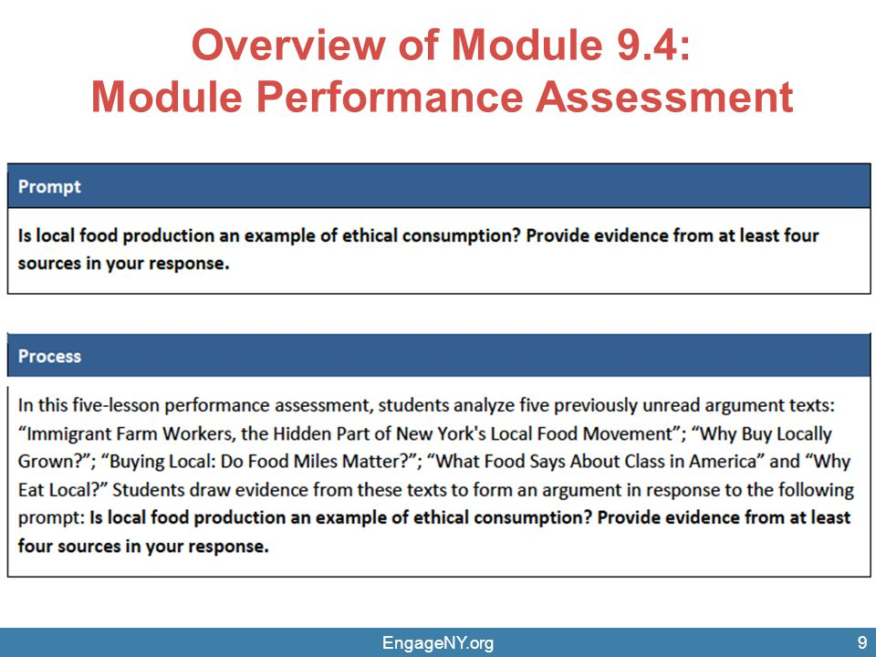 Overview of Module 9.4: Module Performance Assessment EngageNY.org9