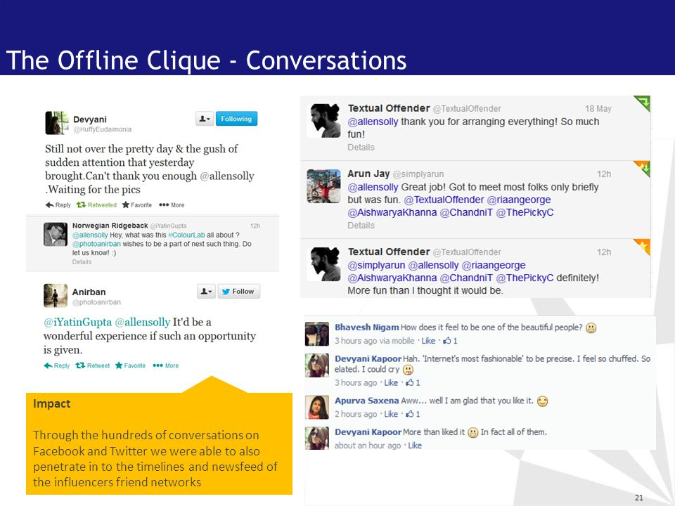 21 The Offline Clique - Conversations Impact Through the hundreds of conversations on Facebook and Twitter we were able to also penetrate in to the timelines and newsfeed of the influencers friend networks