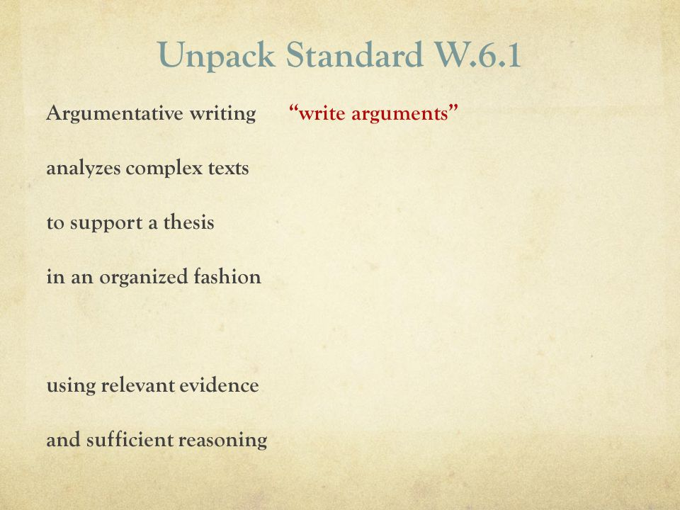 Unpack Standard W.6.1 write argumentsArgumentative writing analyzes complex texts to support a thesis in an organized fashion using relevant evidence