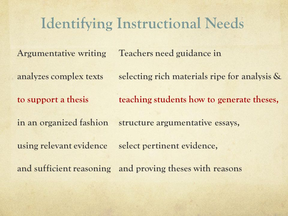 Identifying Instructional Needs Teachers need guidance in selecting rich materials ripe for analysis & teaching students how to generate theses, struc