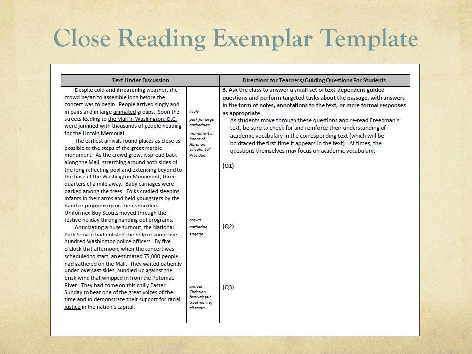 Close Reading Exemplar Template