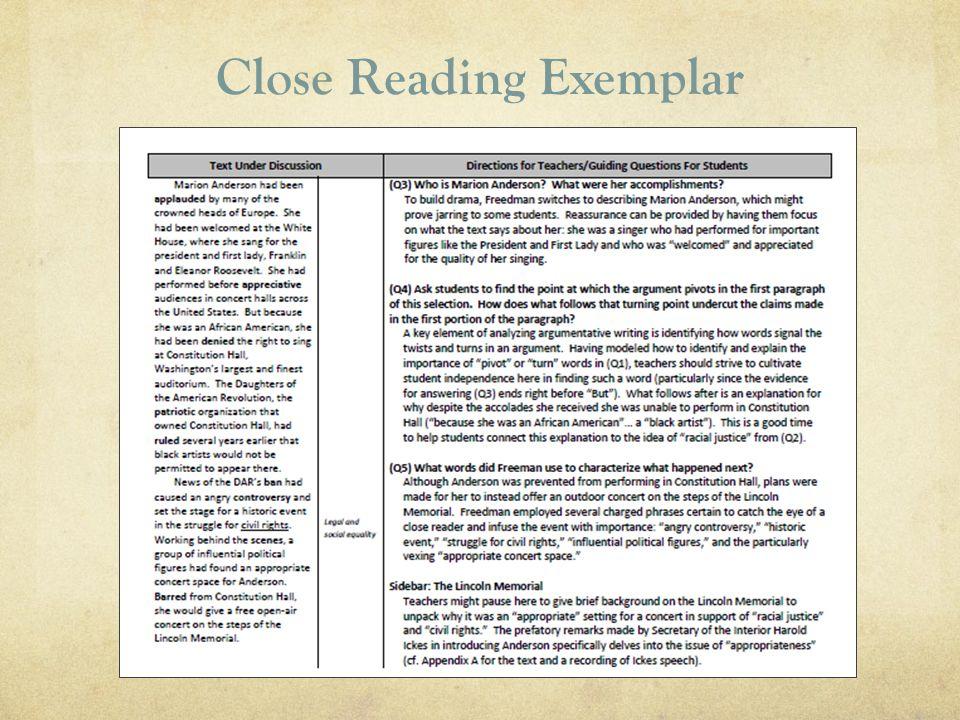 Close Reading Exemplar