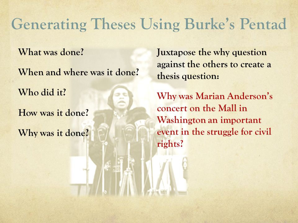 Generating Theses Using Burkes Pentad What was done? When and where was it done? Who did it? How was it done? Why was it done? Juxtapose the why quest