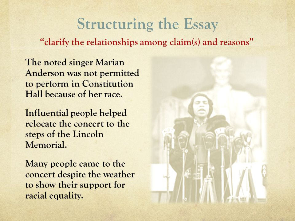 Structuring the Essay The noted singer Marian Anderson was not permitted to perform in Constitution Hall because of her race. Influential people helpe