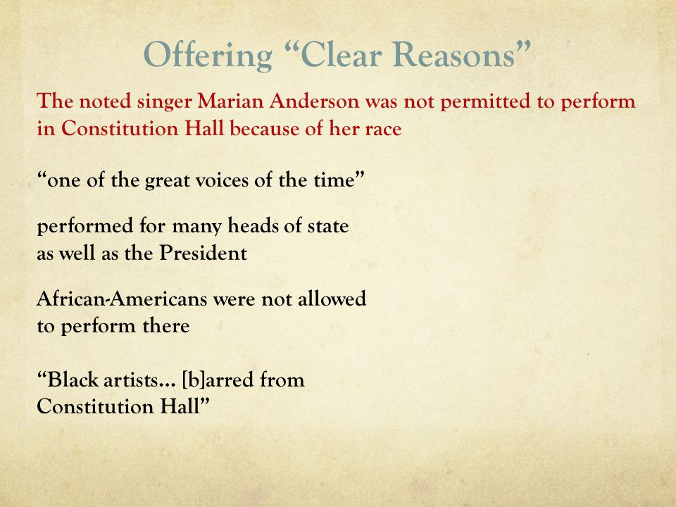 Offering Clear Reasons one of the great voices of the time performed for many heads of state as well as the President African-Americans were not allow