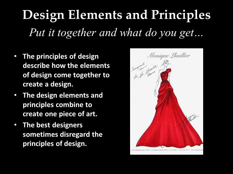 Design Elements and Principles The principles of design describe how the elements of design come together to create a design.