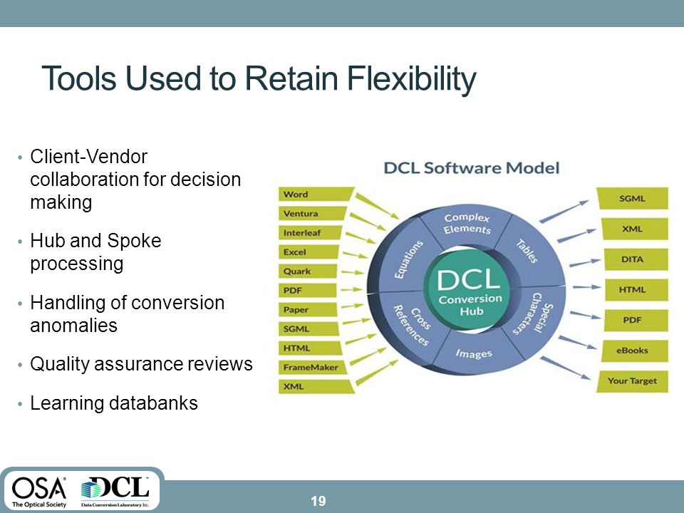 Tools Used to Retain Flexibility Client-Vendor collaboration for decision making Hub and Spoke processing Handling of conversion anomalies Quality assurance reviews Learning databanks 19