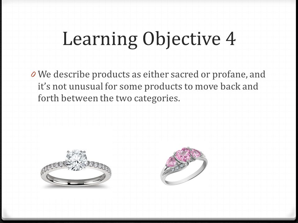 Learning Objective 4 0 We describe products as either sacred or profane, and its not unusual for some products to move back and forth between the two
