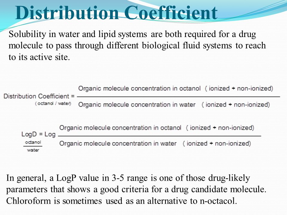 Distribution Coefficient In general, a LogP value in 3-5 range is one of those drug-likely parameters that shows a good criteria for a drug candidate