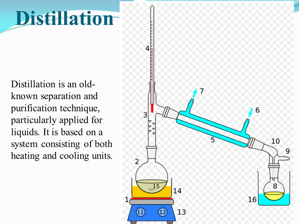 Distillation Distillation is an old- known separation and purification technique, particularly applied for liquids. It is based on a system consisting