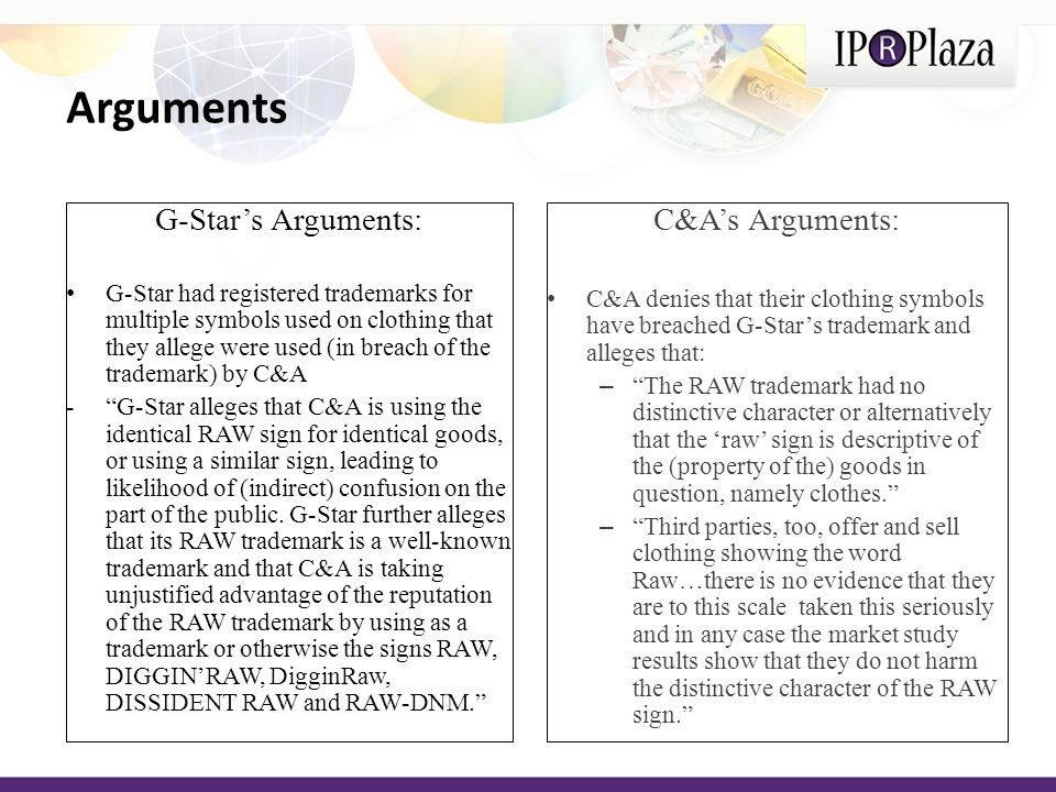 Arguments G-Stars Arguments: G-Star had registered trademarks for multiple symbols used on clothing that they allege were used (in breach of the trademark) by C&A -G-Star alleges that C&A is using the identical RAW sign for identical goods, or using a similar sign, leading to likelihood of (indirect) confusion on the part of the public.