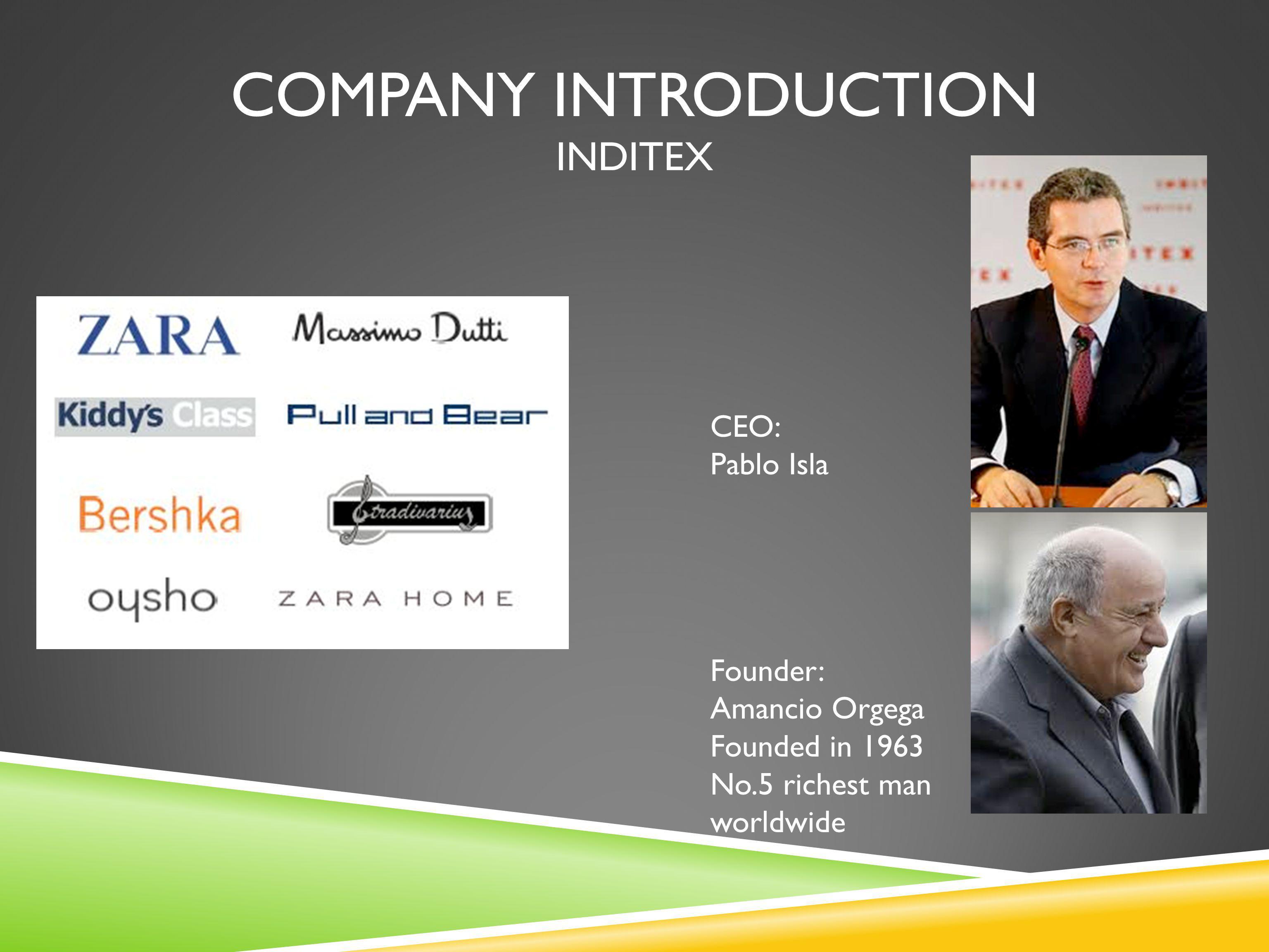 COMPANY INTRODUCTION INDITEX Founder: Amancio Orgega Founded in 1963 No.5 richest man worldwide CEO: Pablo Isla