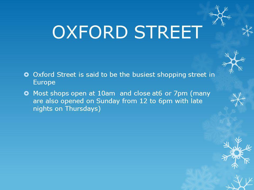 Top shopping destinations Oxford Street Carnaby Street Regent Street Westfield London
