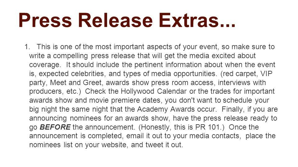Press Release Extras... 1.