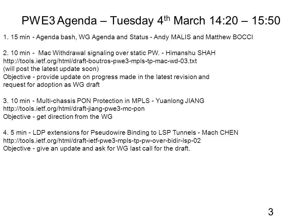 PWE3 Agenda – Tuesday 4 th March 14:20 – 15:50 1.