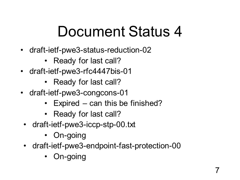 Document Status 4 draft-ietf-pwe3-status-reduction-02 Ready for last call.