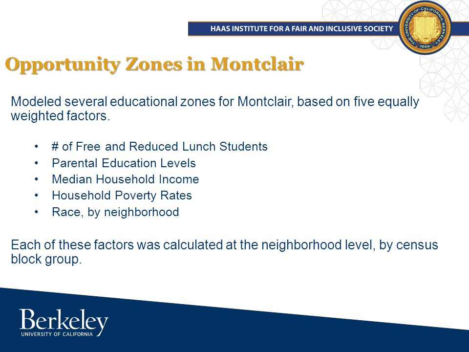 Modeled several educational zones for Montclair, based on five equally weighted factors.