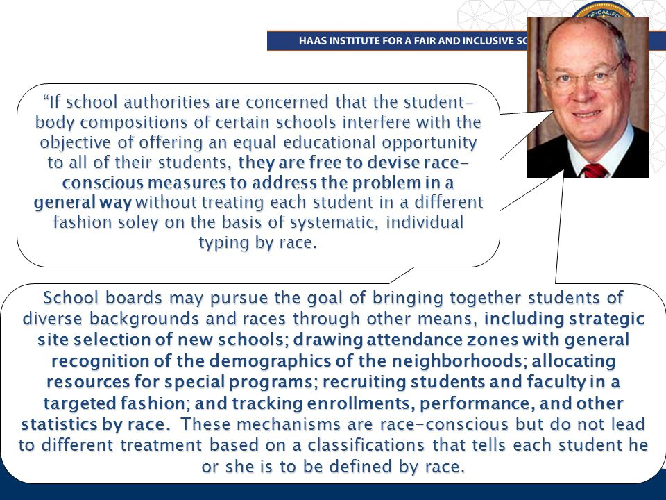 3 School boards may pursue the goal of bringing together students of diverse backgrounds and races through other means, including strategic site selection of new schools; drawing attendance zones with general recognition of the demographics of the neighborhoods; allocating resources for special programs; recruiting students and faculty in a targeted fashion; and tracking enrollments, performance, and other statistics by race.