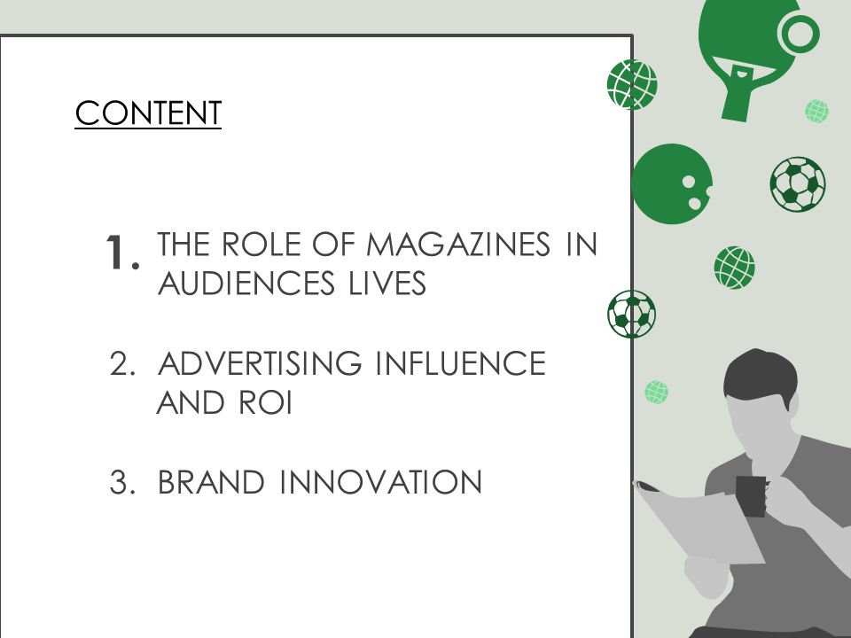 2.ADVERTISING INFLUENCE AND ROI 3.BRAND INNOVATION THE ROLE OF MAGAZINES IN AUDIENCES LIVES 1.