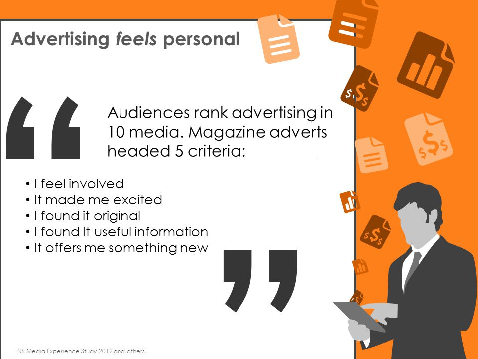 TNS Media Experience Study 2012 and others Advertising feels personal Audiences rank advertising in 10 media.