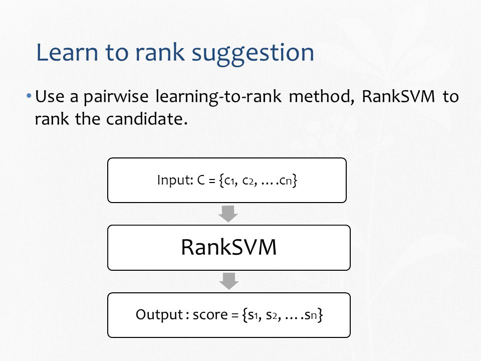 Learn to rank suggestion Use a pairwise learning-to-rank method, RankSVM to rank the candidate.