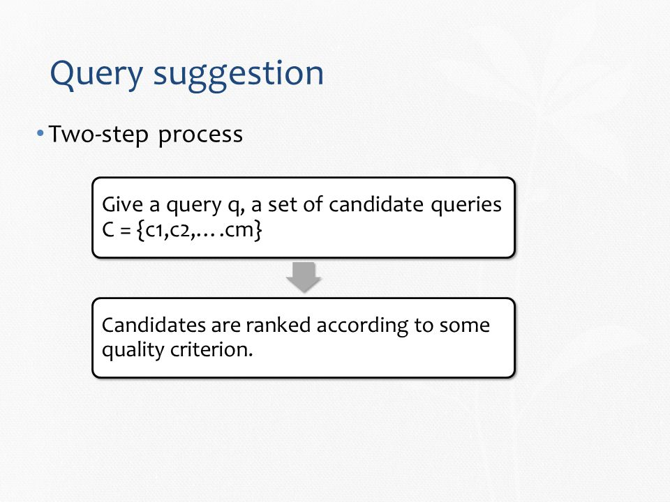 Query suggestion Two-step process Give a query q, a set of candidate queries C = {c1,c2,….cm} Candidates are ranked according to some quality criterion.