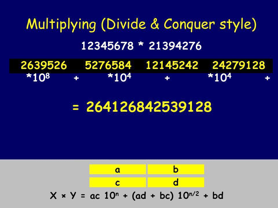 Multiplying (Divide & Conquer style) X = Y = X × Y = ac 10 n + (ad + bc) 10 n/2 + bd ab cd 1234*2139 1234*4276 5678*2139 5678*4276 12345678 * 21394276 12*21 12*39 34*21 34*392524687141326 *10 4 + *10 2 + *10 2 + *1= 2639526
