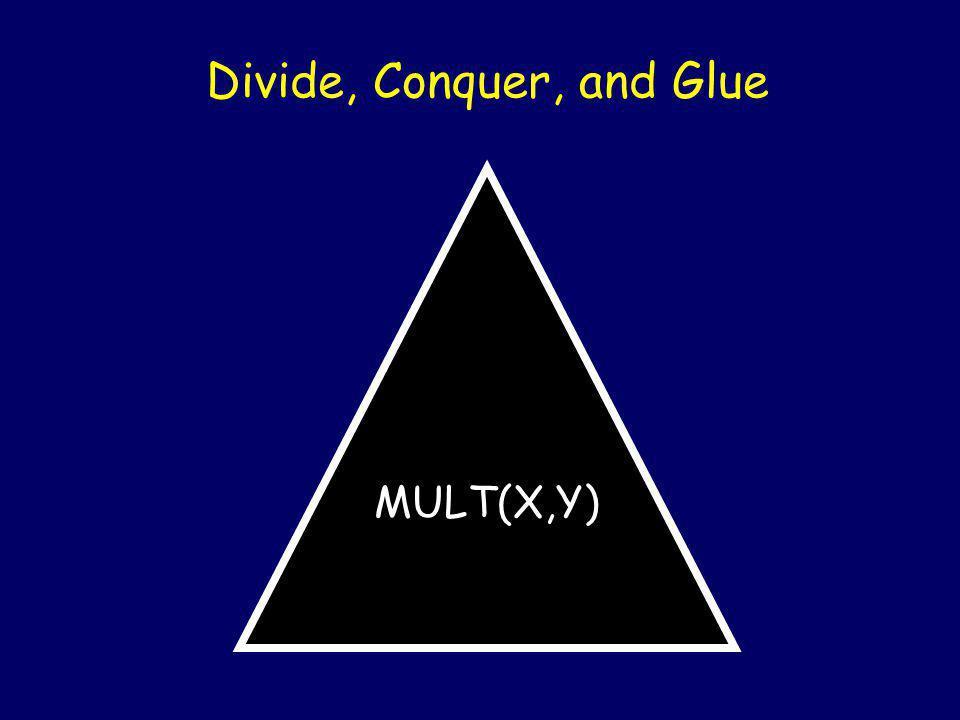 Multiplying (Divide & Conquer style) X = Y = X × Y = ac 10 n + (ad + bc) 10 n/2 + bd ab cd 12345678 * 21394276 = 264126842539128