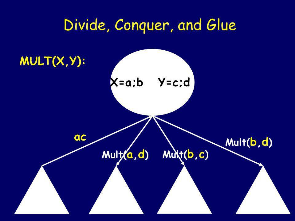 X=a;b Y=c;d Divide, Conquer, and Glue MULT(X,Y): Mult(a,c) Mult( a,d ) Mult( b,c ) Mult( b,d )