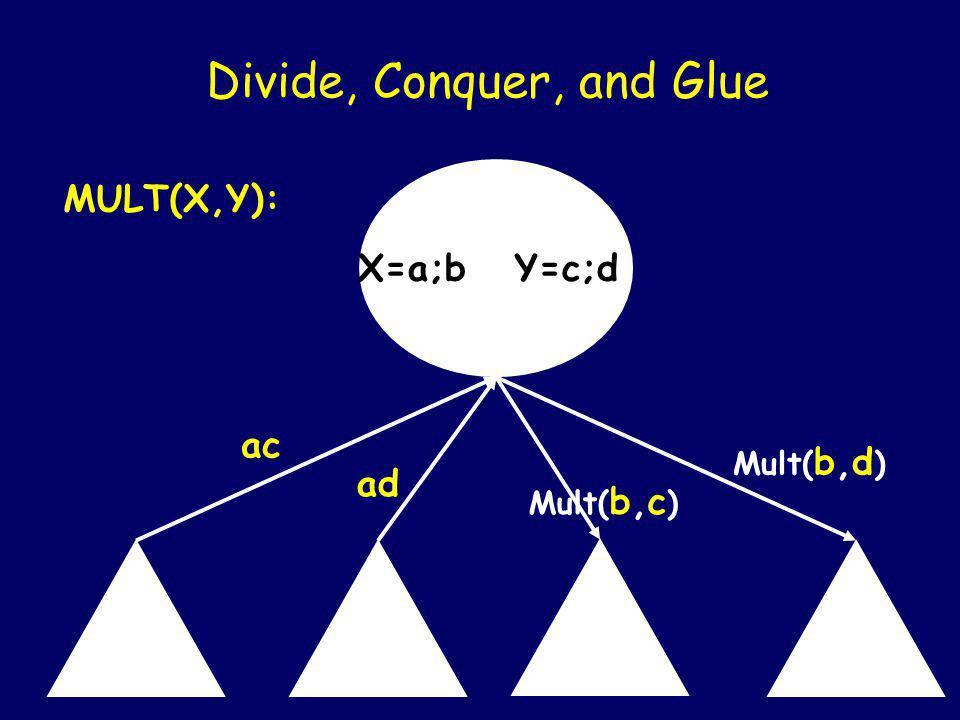 X=a;b Y=c;d Divide, Conquer, and Glue MULT(X,Y): ac Mult(a,d) Mult( b,c ) Mult( b,d )