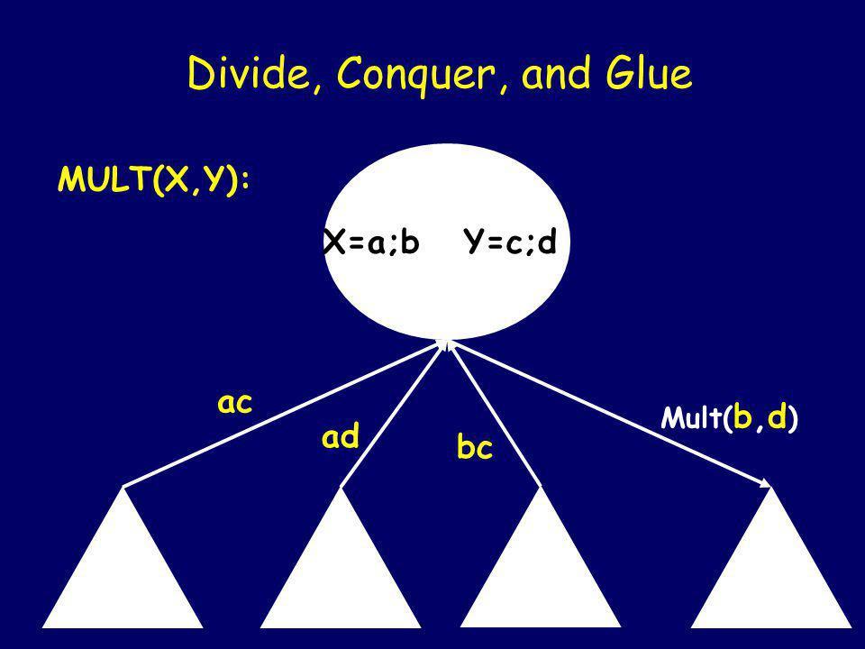 X=a;b Y=c;d Divide, Conquer, and Glue MULT(X,Y): ac ad Mult(b,c) Mult( b,d )
