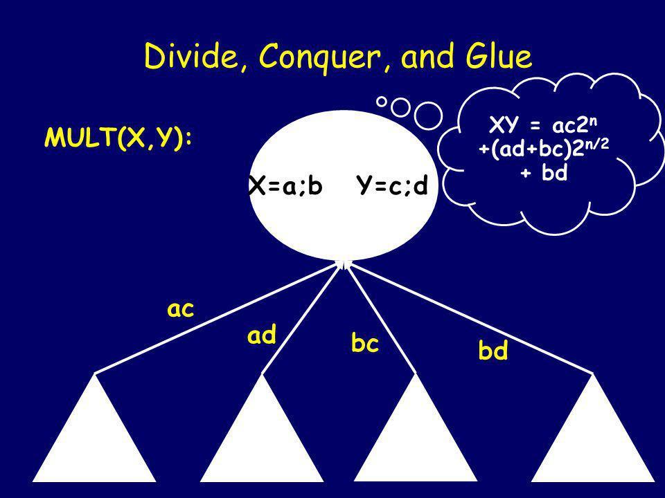 X=a;b Y=c;d Divide, Conquer, and Glue MULT(X,Y): ac ad bc Mult(b,d)