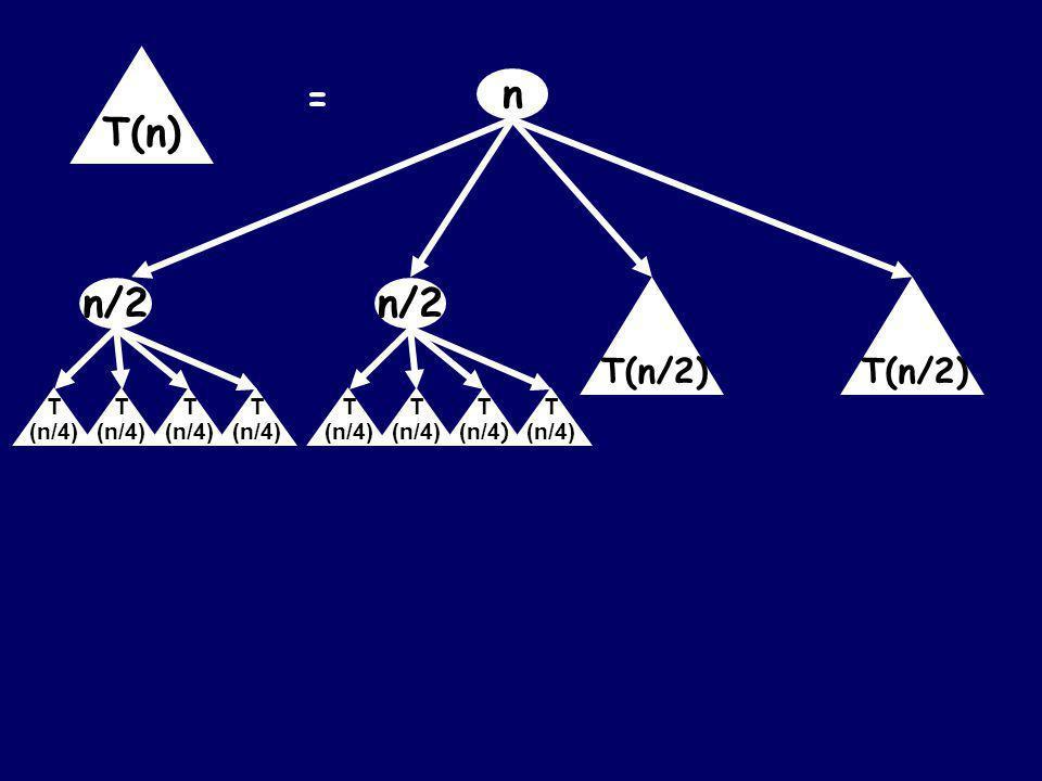 n = T(n) T(n/2) n/2 T (n/4) T (n/4) T (n/4) T (n/4)