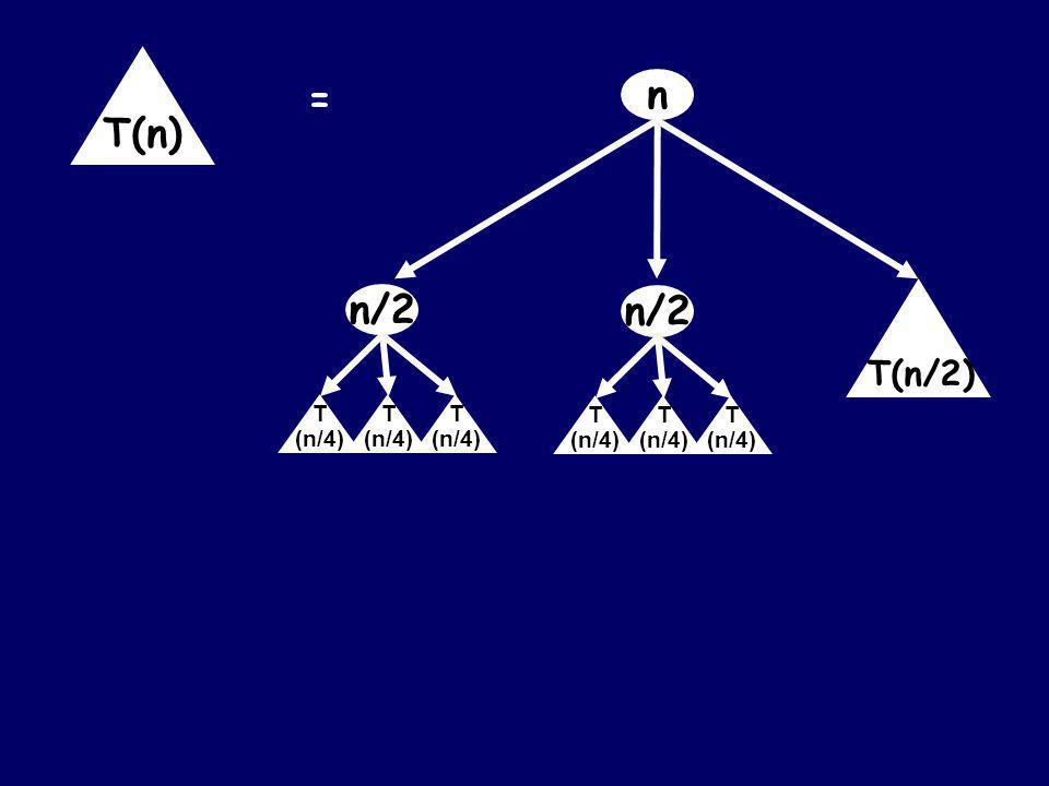 n = T(n) T(n/2) n/2 T (n/4) T (n/4) T (n/4)