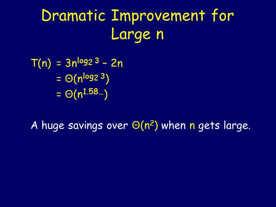 n n/2 + n/2 + n/2 Level i is the sum of 3 i copies of n/2 i.............