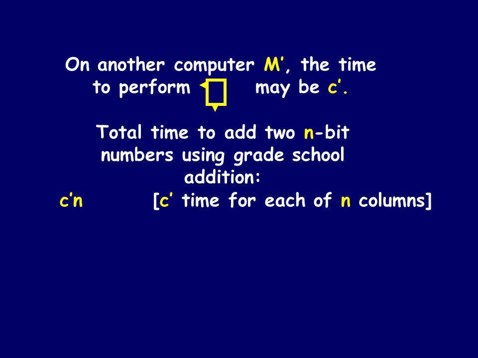 On any reasonable computer, adding 3 bits and writing down the two bit answer can be done in constant time Pick any particular computer M and define c to be the time it takes to perform on that computer.