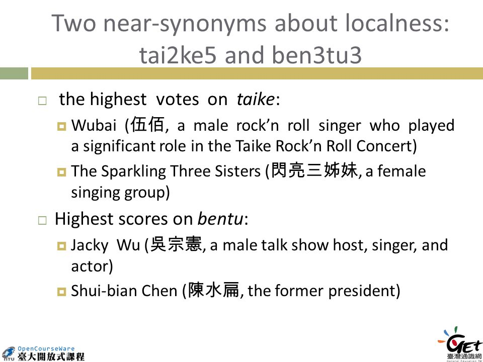Two near-synonyms about localness: tai2ke5 and ben3tu3 the highest votes on taike: Wubai (, a male rockn roll singer who played a significant role in the Taike Rockn Roll Concert) The Sparkling Three Sisters (, a female singing group) Highest scores on bentu: Jacky Wu (, a male talk show host, singer, and actor) Shui-bian Chen (, the former president)