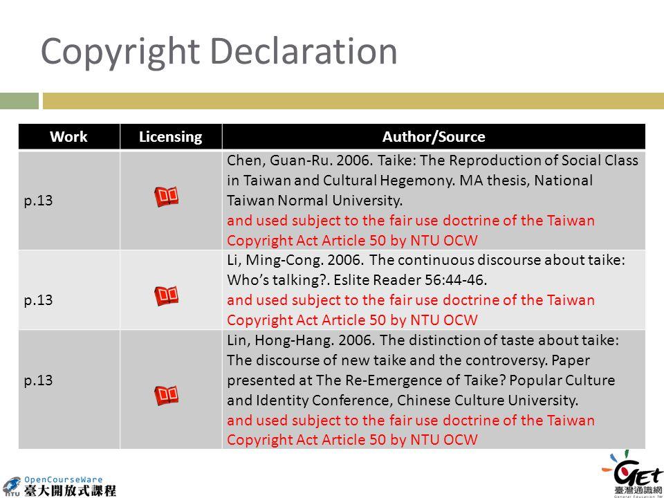 Copyright Declaration WorkLicensingAuthor/Source p.13 Chen, Guan-Ru.