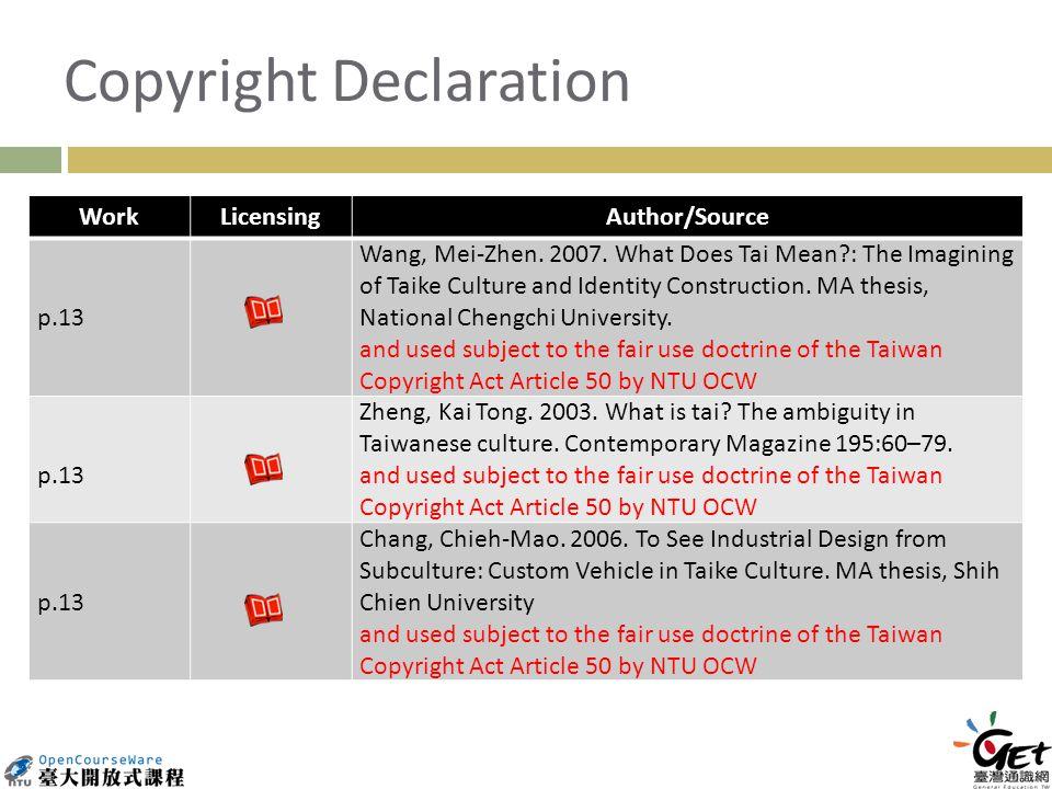 Copyright Declaration WorkLicensingAuthor/Source p.13 Wang, Mei-Zhen.