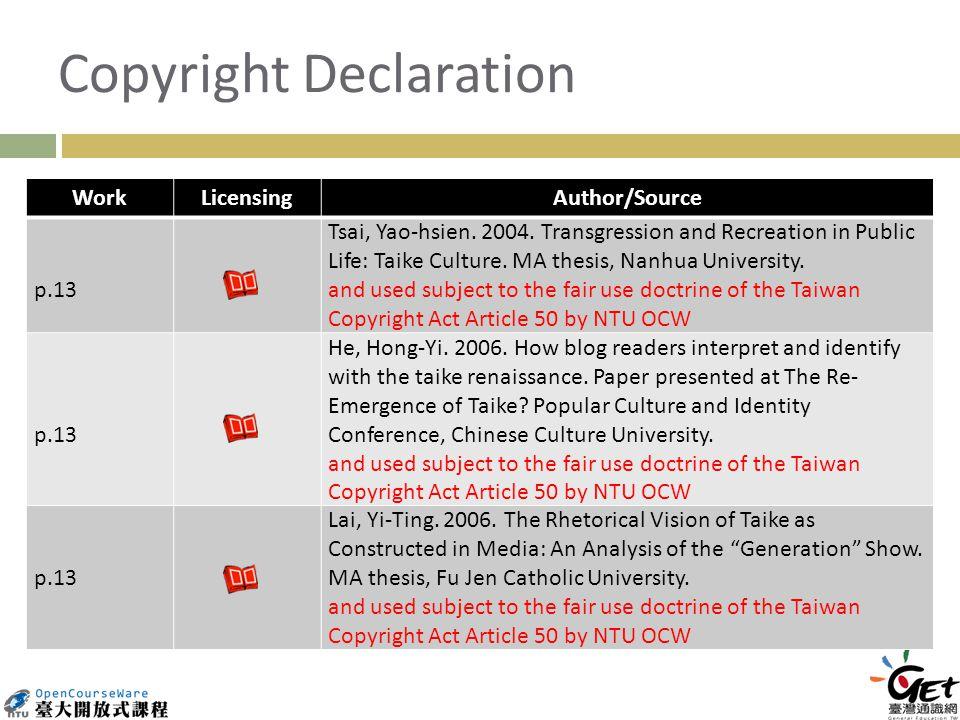 Copyright Declaration WorkLicensingAuthor/Source p.13 Tsai, Yao-hsien.