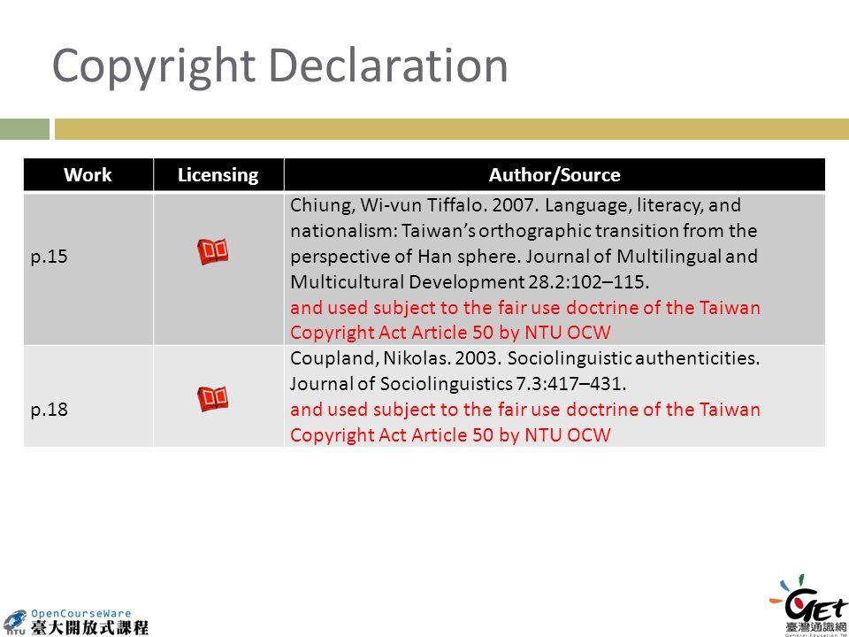Copyright Declaration WorkLicensingAuthor/Source p.15 Chiung, Wi-vun Tiffalo.