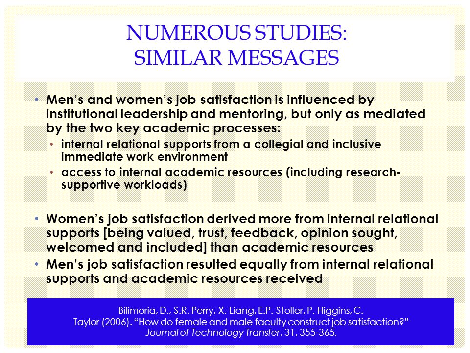 NUMEROUS STUDIES: SIMILAR MESSAGES Mens and womens job satisfaction is influenced by institutional leadership and mentoring, but only as mediated by the two key academic processes: internal relational supports from a collegial and inclusive immediate work environment access to internal academic resources (including research- supportive workloads) Womens job satisfaction derived more from internal relational supports [being valued, trust, feedback, opinion sought, welcomed and included] than academic resources Mens job satisfaction resulted equally from internal relational supports and academic resources received Bilimoria, D., S.R.